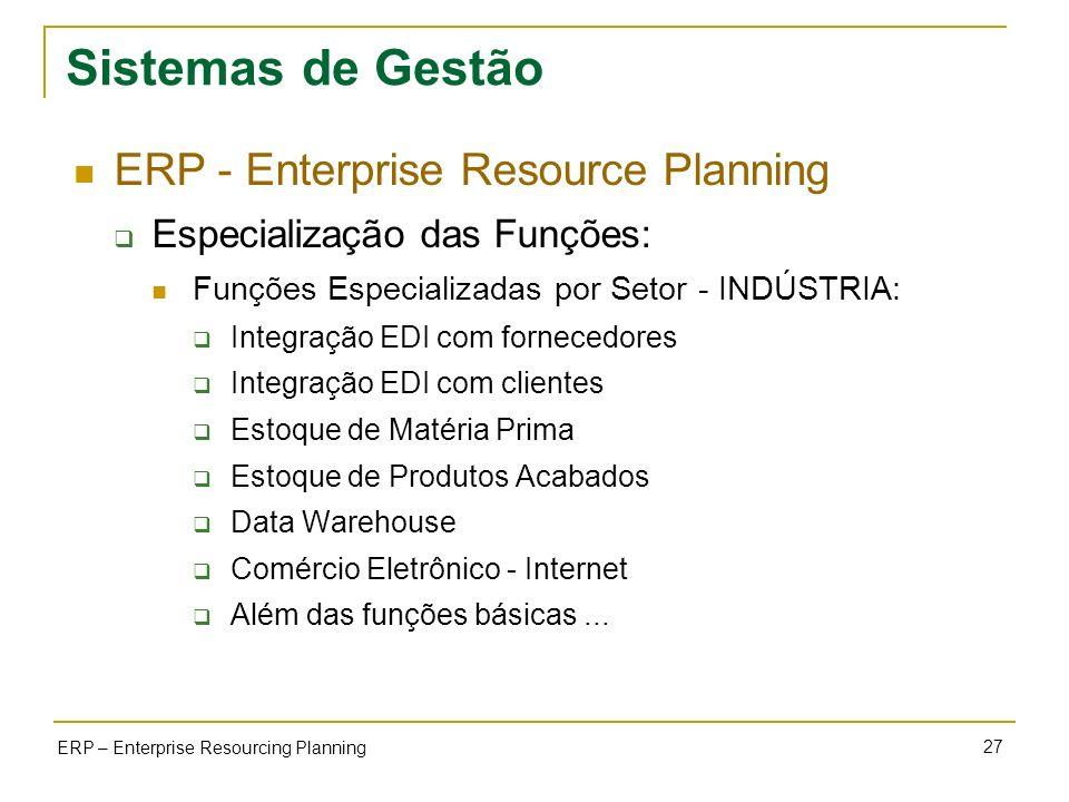 27 ERP – Enterprise Resourcing Planning Sistemas de Gestão ERP - Enterprise Resource Planning Especialização das Funções: Funções Especializadas por S