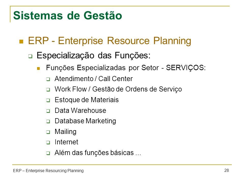 28 ERP – Enterprise Resourcing Planning Sistemas de Gestão ERP - Enterprise Resource Planning Especialização das Funções: Funções Especializadas por S