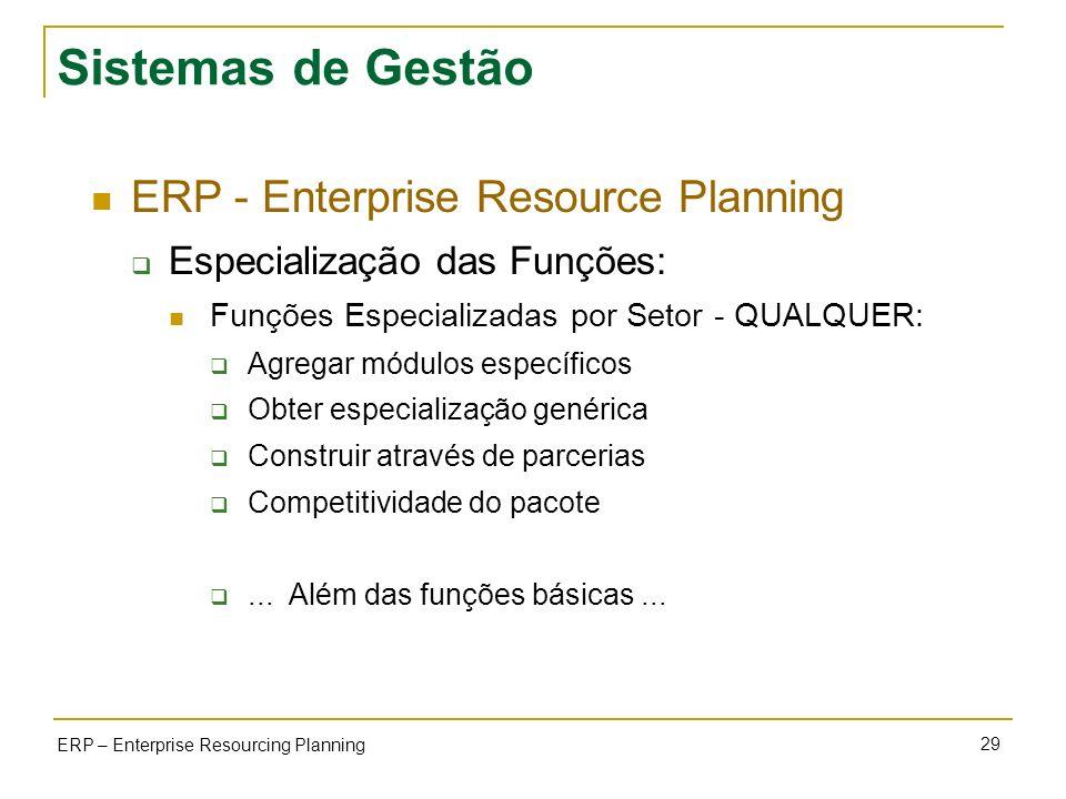 29 ERP – Enterprise Resourcing Planning Sistemas de Gestão ERP - Enterprise Resource Planning Especialização das Funções: Funções Especializadas por S