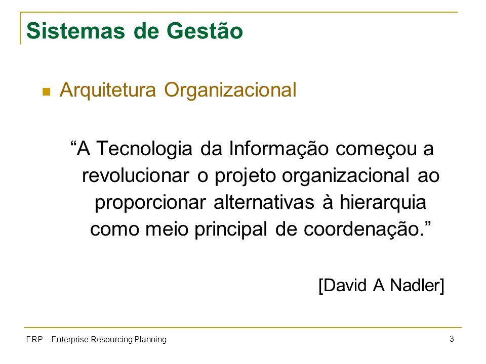 3 ERP – Enterprise Resourcing Planning Sistemas de Gestão Arquitetura Organizacional A Tecnologia da Informação começou a revolucionar o projeto organ