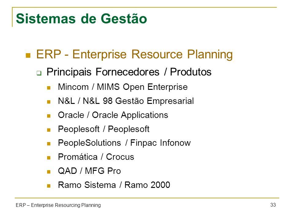 33 ERP – Enterprise Resourcing Planning Sistemas de Gestão ERP - Enterprise Resource Planning Principais Fornecedores / Produtos Mincom / MIMS Open En