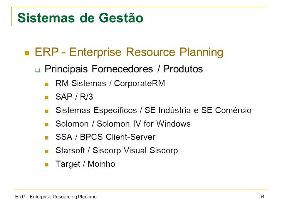 34 ERP – Enterprise Resourcing Planning Sistemas de Gestão ERP - Enterprise Resource Planning Principais Fornecedores / Produtos RM Sistemas / Corpora