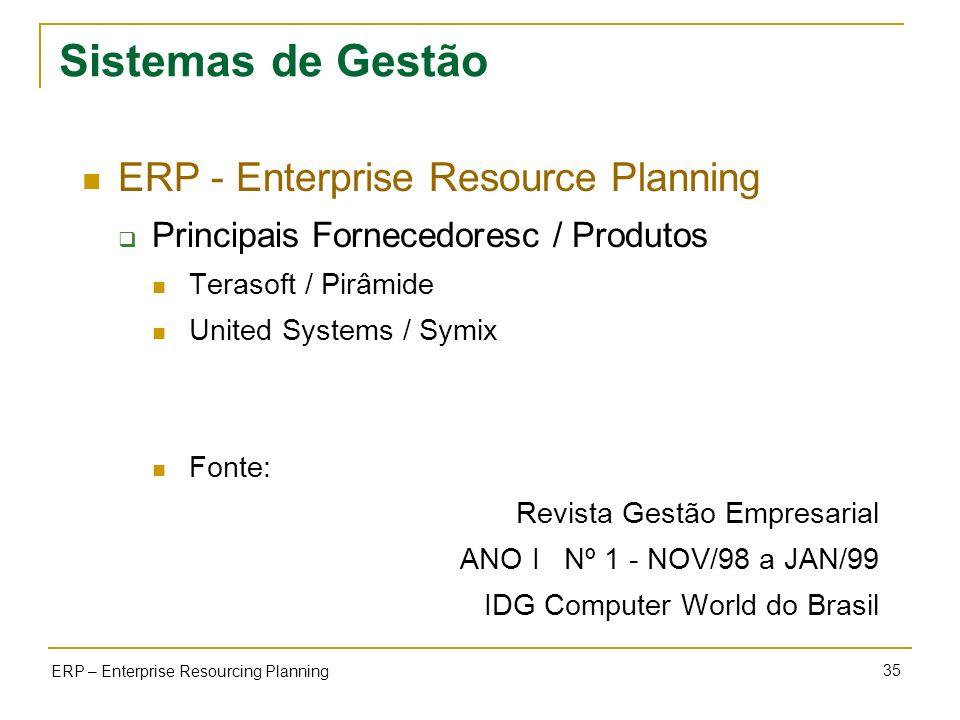 35 ERP – Enterprise Resourcing Planning Sistemas de Gestão ERP - Enterprise Resource Planning Principais Fornecedoresc / Produtos Terasoft / Pirâmide