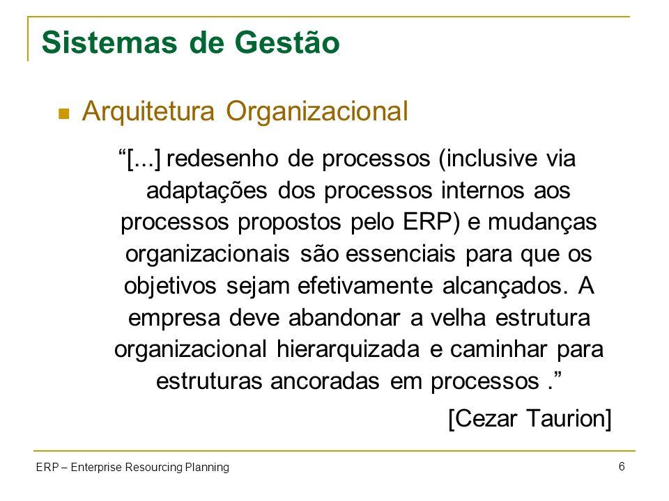 6 ERP – Enterprise Resourcing Planning Sistemas de Gestão Arquitetura Organizacional [...] redesenho de processos (inclusive via adaptações dos proces