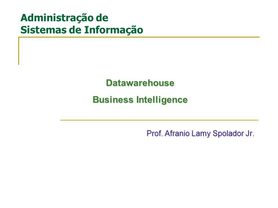 Prof. Afranio Lamy Spolador Jr. Administração de Sistemas de Informação Datawarehouse Business Intelligence