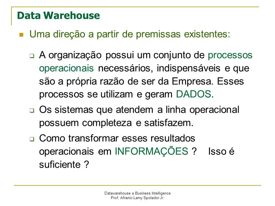 Datawarehouse e Business Intelligence Prof. Afranio Lamy Spolador Jr. Data Warehouse Uma direção a partir de premissas existentes: A organização possu