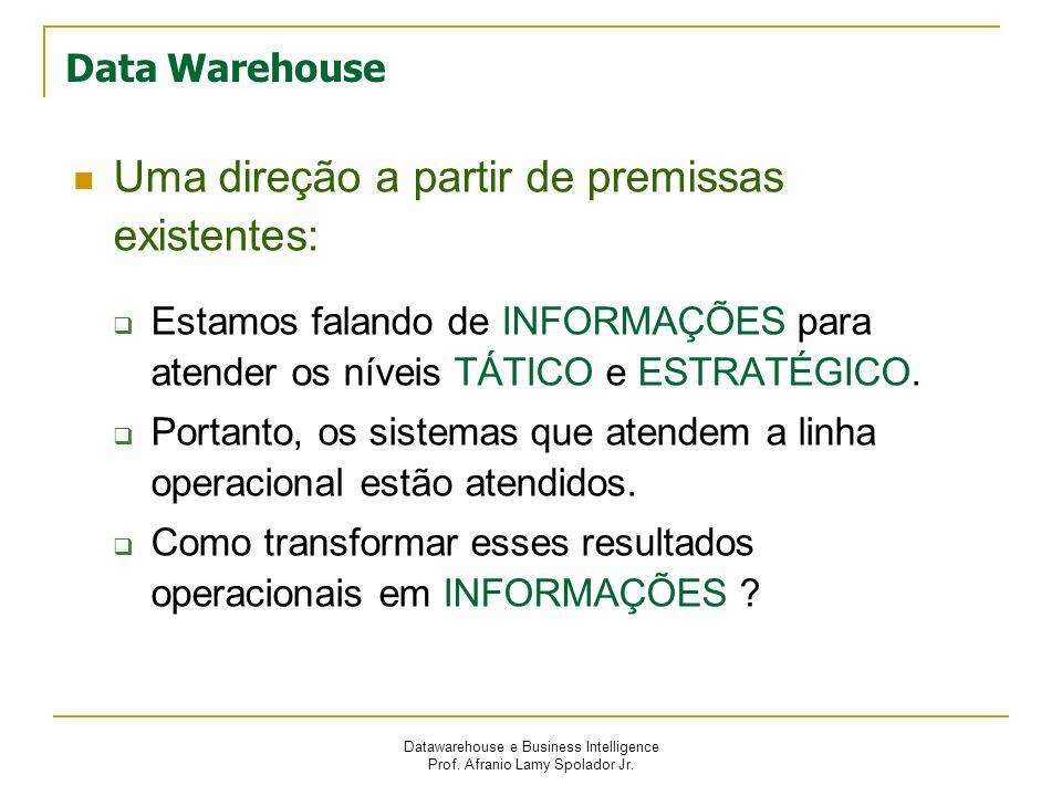 Datawarehouse e Business Intelligence Prof. Afranio Lamy Spolador Jr. Data Warehouse Uma direção a partir de premissas existentes: Estamos falando de