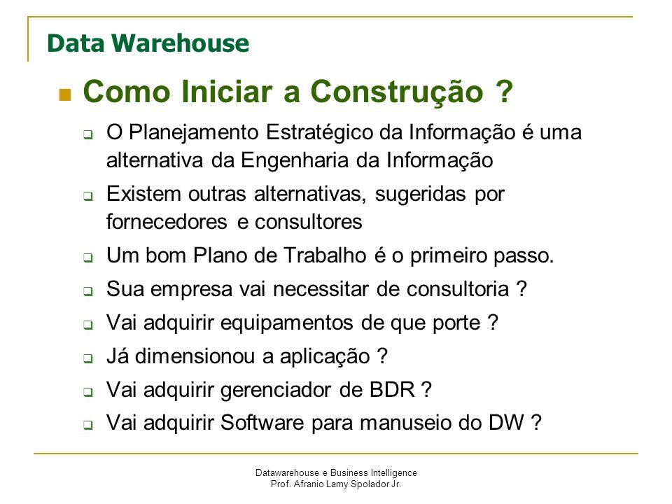 Datawarehouse e Business Intelligence Prof. Afranio Lamy Spolador Jr. Data Warehouse Como Iniciar a Construção ? O Planejamento Estratégico da Informa