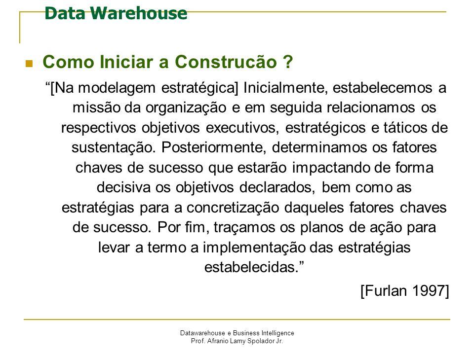 Datawarehouse e Business Intelligence Prof. Afranio Lamy Spolador Jr. Data Warehouse Como Iniciar a Construcão ? [Na modelagem estratégica] Inicialmen