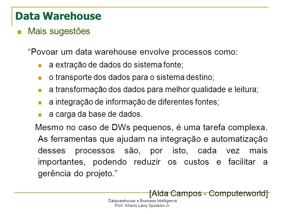 Datawarehouse e Business Intelligence Prof. Afranio Lamy Spolador Jr. Data Warehouse Mais sugestões Povoar um data warehouse envolve processos como: a