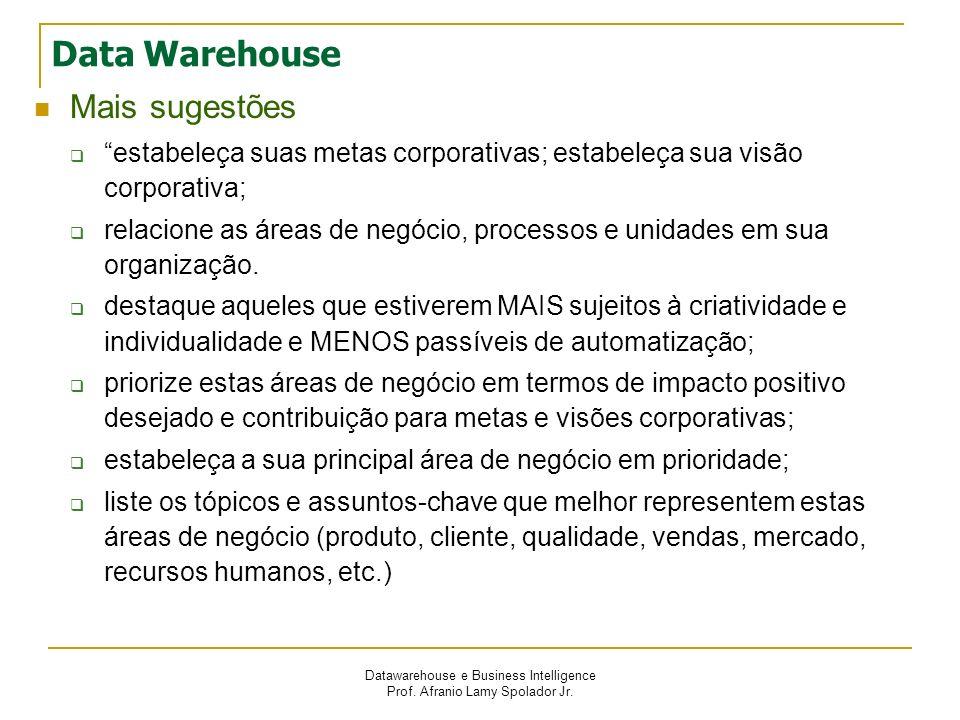 Datawarehouse e Business Intelligence Prof. Afranio Lamy Spolador Jr. Data Warehouse Mais sugestões estabeleça suas metas corporativas; estabeleça sua