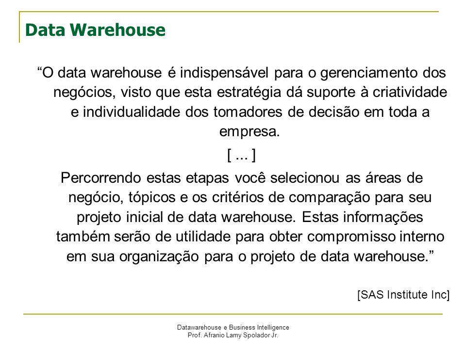 Datawarehouse e Business Intelligence Prof. Afranio Lamy Spolador Jr. Data Warehouse O data warehouse é indispensável para o gerenciamento dos negócio