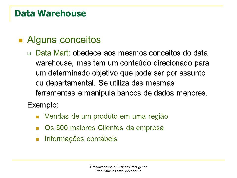 Datawarehouse e Business Intelligence Prof. Afranio Lamy Spolador Jr. Data Warehouse Alguns conceitos Data Mart: obedece aos mesmos conceitos do data