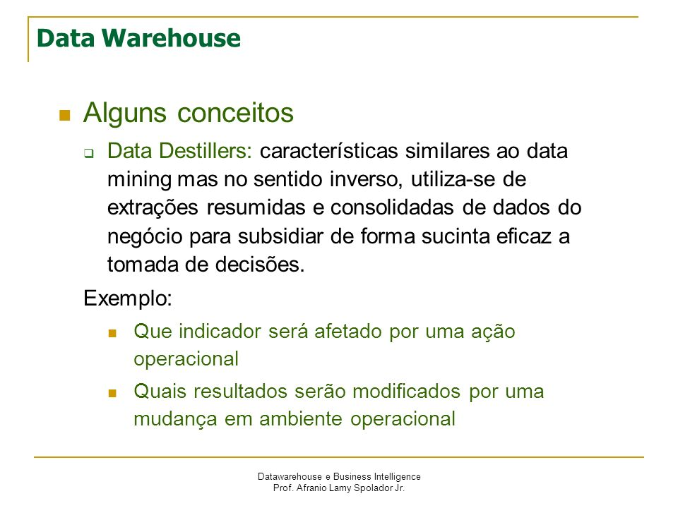 Datawarehouse e Business Intelligence Prof. Afranio Lamy Spolador Jr. Data Warehouse Alguns conceitos Data Destillers: características similares ao da
