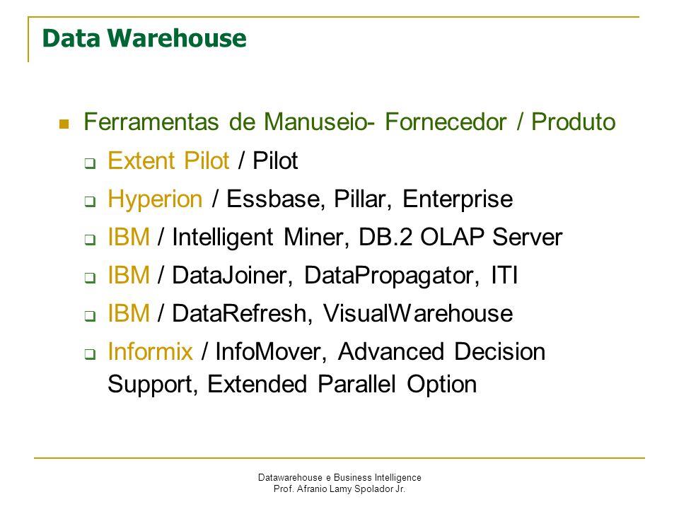 Datawarehouse e Business Intelligence Prof. Afranio Lamy Spolador Jr. Data Warehouse Ferramentas de Manuseio- Fornecedor / Produto Extent Pilot / Pilo