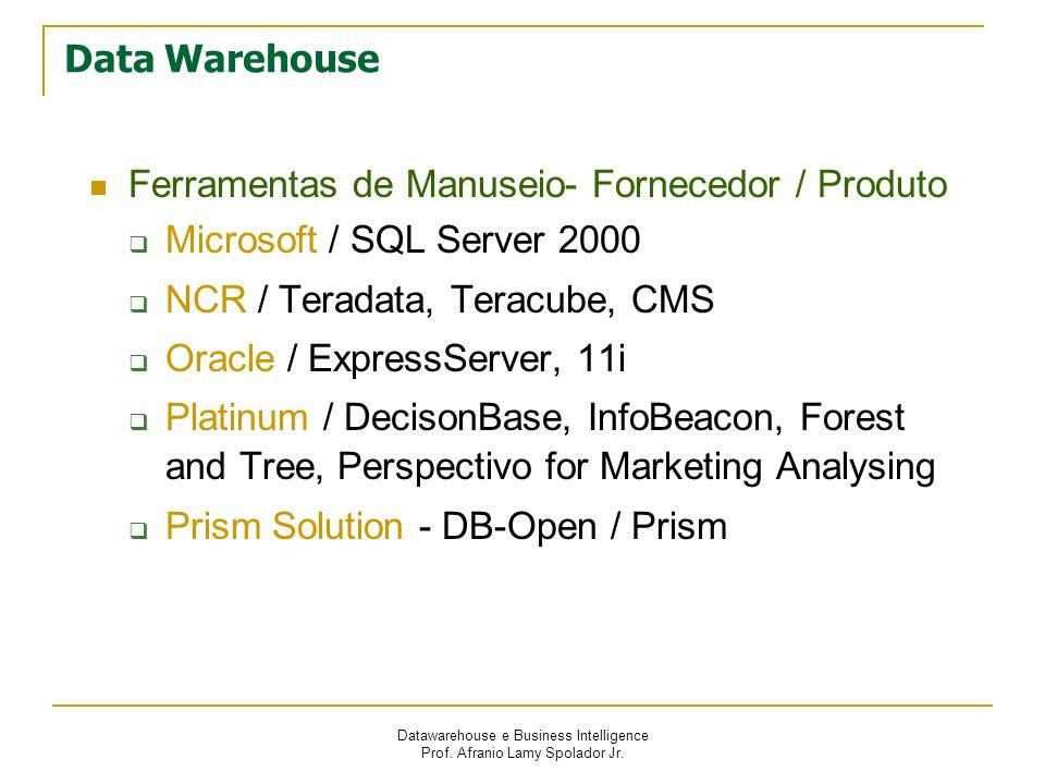 Datawarehouse e Business Intelligence Prof. Afranio Lamy Spolador Jr. Data Warehouse Ferramentas de Manuseio- Fornecedor / Produto Microsoft / SQL Ser