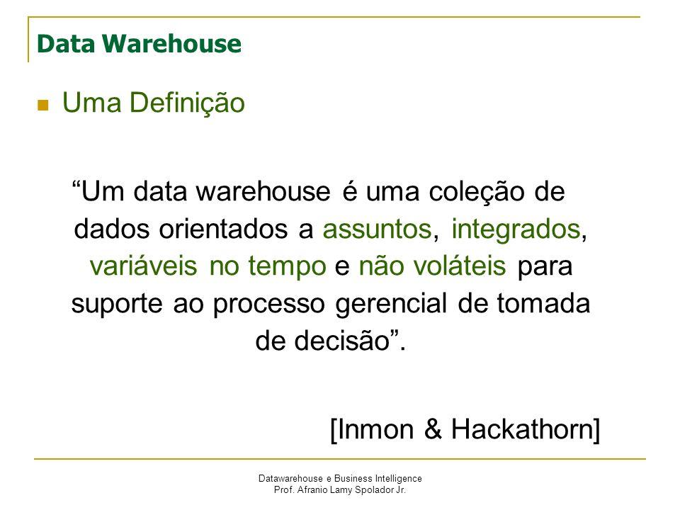 Datawarehouse e Business Intelligence Prof. Afranio Lamy Spolador Jr. Data Warehouse Uma Definição Um data warehouse é uma coleção de dados orientados