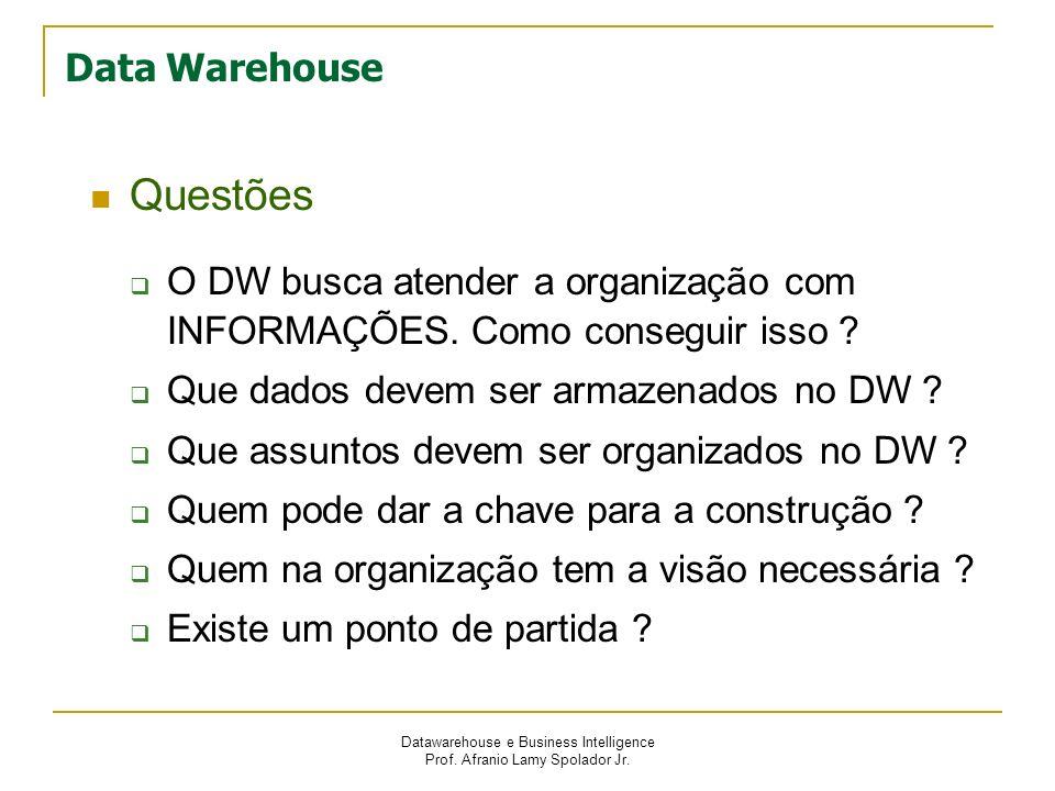 Datawarehouse e Business Intelligence Prof. Afranio Lamy Spolador Jr. Data Warehouse Questões O DW busca atender a organização com INFORMAÇÕES. Como c