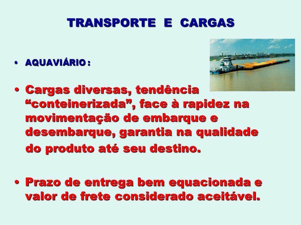 TRANSPORTE E CARGAS AQUAVIÁRIO :AQUAVIÁRIO : Cargas diversas, tendência conteinerizada, face à rapidez na movimentação de embarque e desembarque, gara