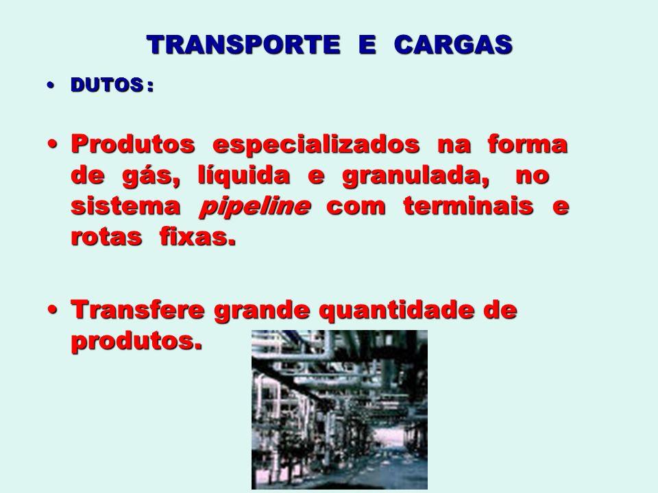 TRANSPORTE E CARGAS DUTOS :DUTOS : Produtos especializados na forma de gás, líquida e granulada, no sistema pipeline com terminais e rotas fixas.Produ