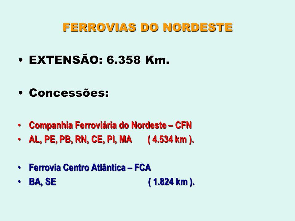 FERROVIAS DO NORDESTE EXTENSÃO: 6.358 Km.EXTENSÃO: 6.358 Km. Concessões:Concessões: Companhia Ferroviária do Nordeste – CFN Companhia Ferroviária do N