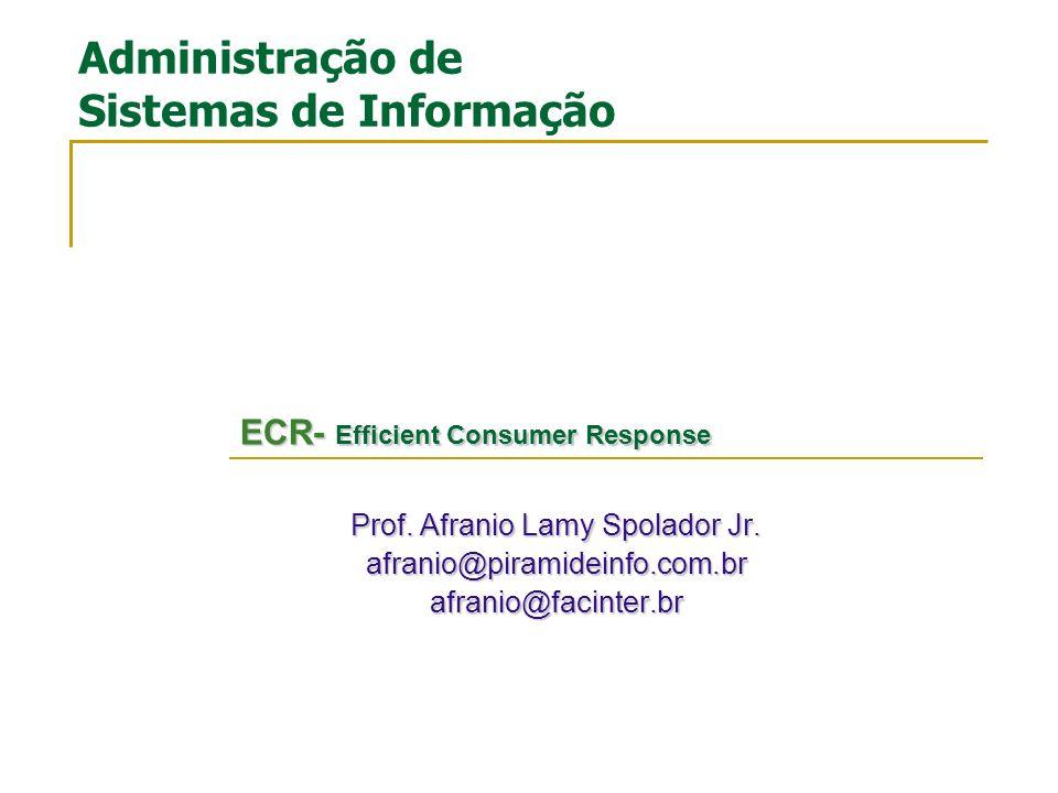 Prof. Afranio Lamy Spolador Jr. afranio@piramideinfo.com.brafranio@facinter.br Administração de Sistemas de Informação ECR- Efficient Consumer Respons