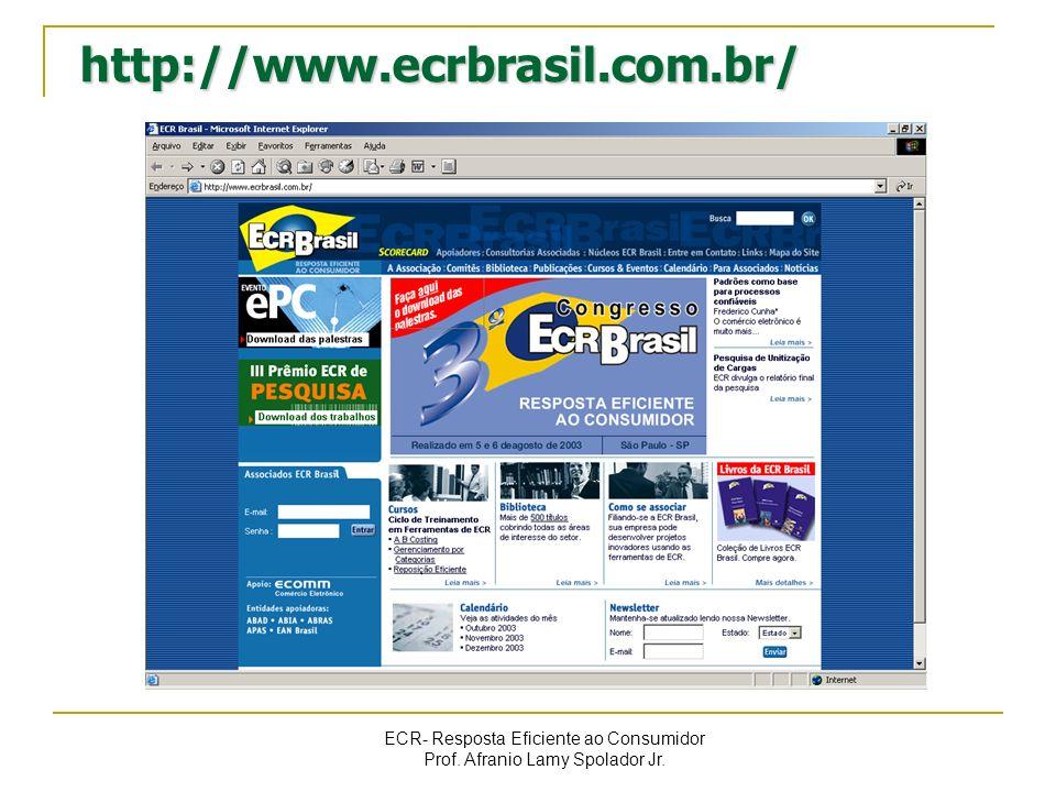 ECR- Resposta Eficiente ao Consumidor Prof. Afranio Lamy Spolador Jr. http://www.ecrbrasil.com.br/