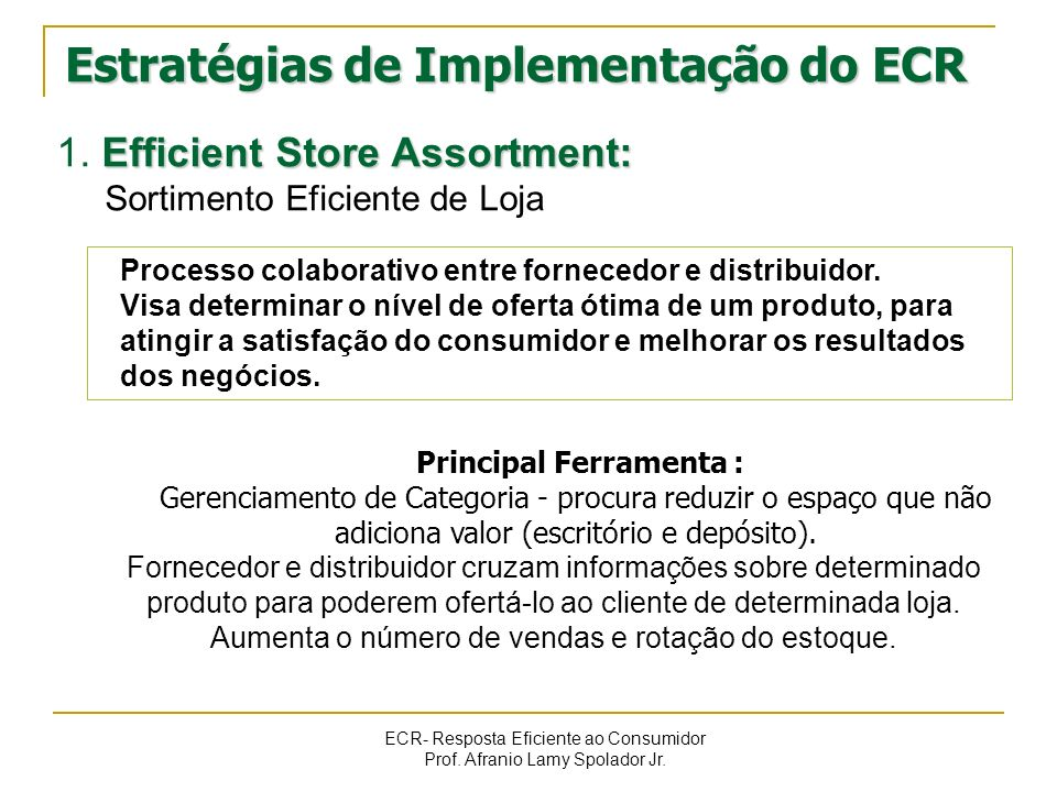 ECR- Resposta Eficiente ao Consumidor Prof. Afranio Lamy Spolador Jr. Estratégias de Implementação do ECR Efficient Store Assortment: 1. Efficient Sto
