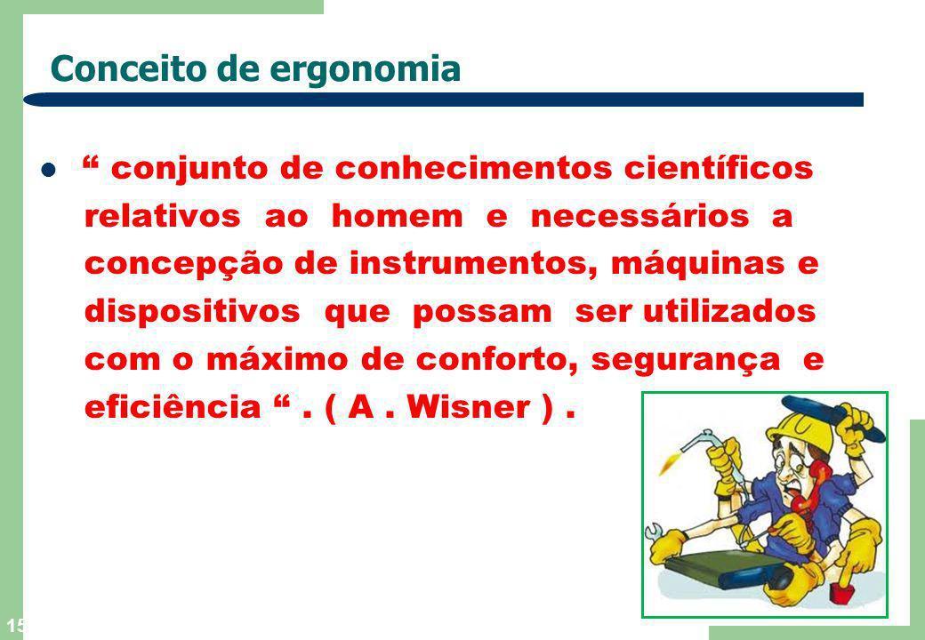 14 Definição de Ergonomia É o estudo da adaptação do trabalho ao homem.