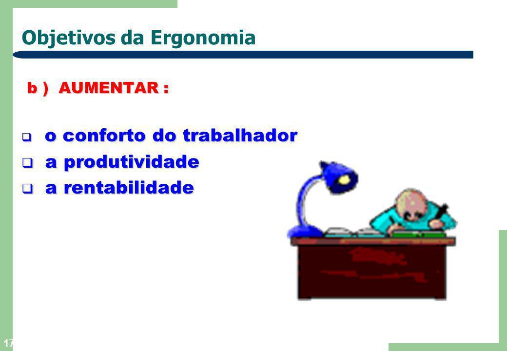 16 Objetivos da Ergonomia a ) REDUZIR : a ) REDUZIR : o cansaço do operário o cansaço do operário a possibilidade de erros a possibilidade de erros os
