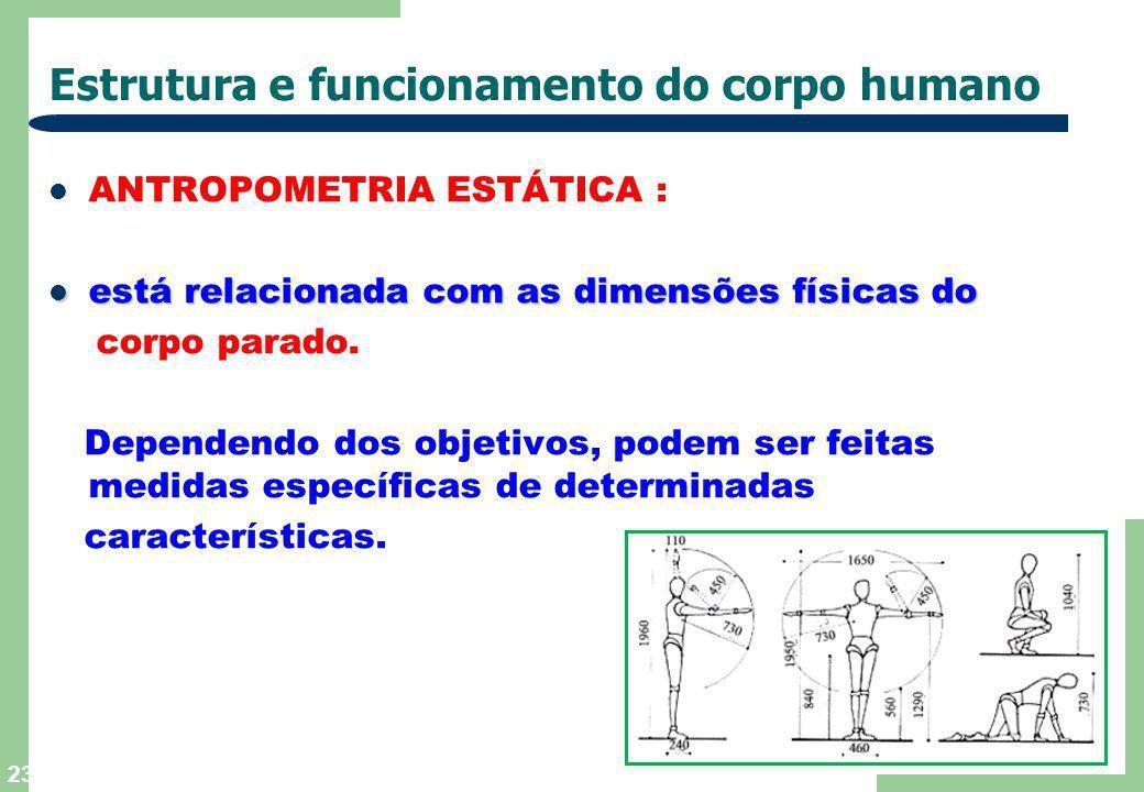 22 Estrutura e funcionamento do corpo humano BIOMECÂNICA : trata geralmente com os aspectos mecânicos trata geralmente com os aspectos mecânicos do mo