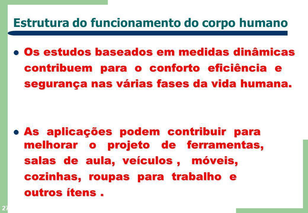26 Estrutura de funcionamento do corpo humano ANTROPOMETRIA DINÂMICA ANTROPOMETRIA DINÂMICA As características relativas de tais funções As caracterís