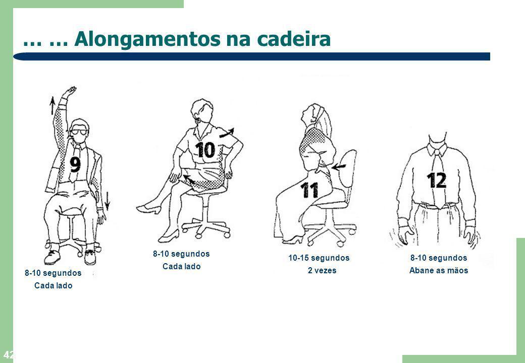 41 … Alongamentos na cadeira … 3-5 segundos 3 vezes 10-12 segundos Cada braço 10 segundos