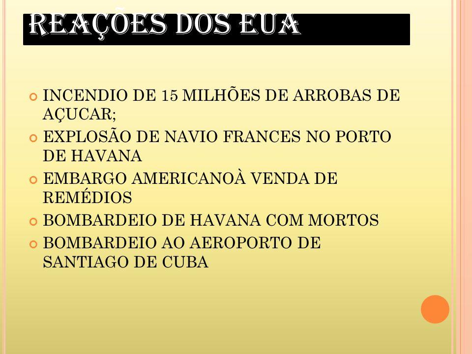 REAÇÕES DOS EUA INCENDIO DE 15 MILHÕES DE ARROBAS DE AÇUCAR; EXPLOSÃO DE NAVIO FRANCES NO PORTO DE HAVANA EMBARGO AMERICANOÀ VENDA DE REMÉDIOS BOMBARD