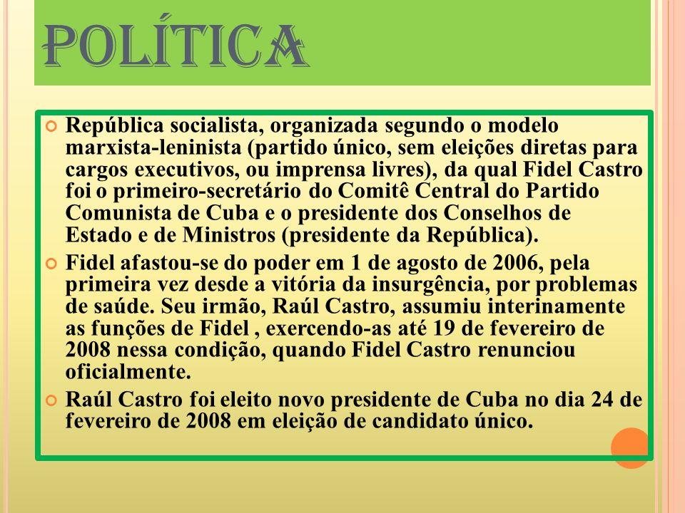 POLÍTICA República socialista, organizada segundo o modelo marxista-leninista (partido único, sem eleições diretas para cargos executivos, ou imprensa
