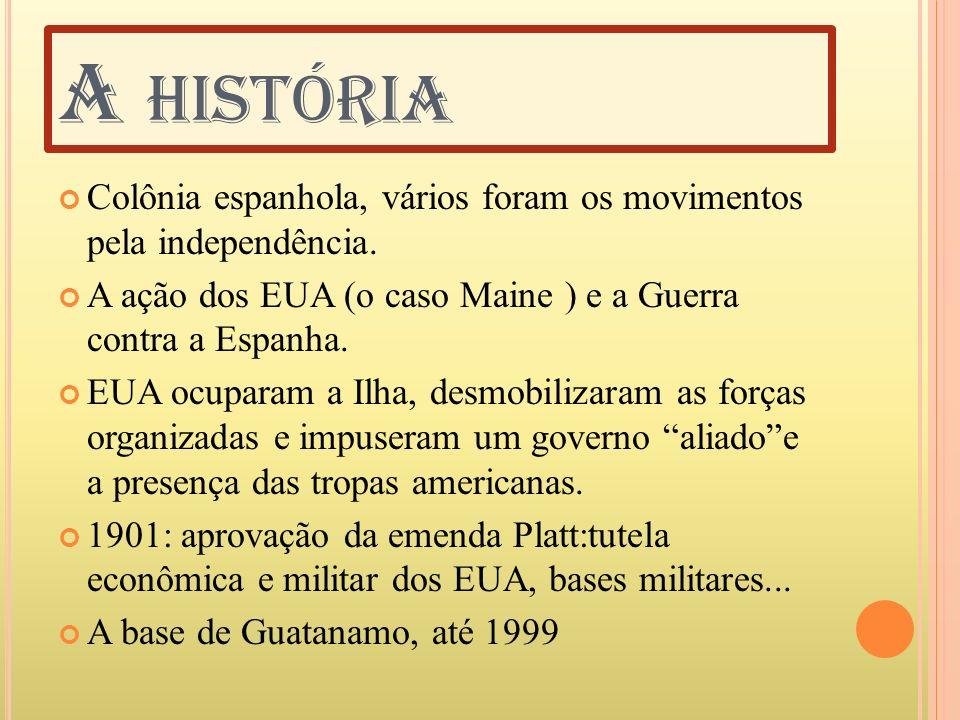A HISTÓRIA Colônia espanhola, vários foram os movimentos pela independência. A ação dos EUA (o caso Maine ) e a Guerra contra a Espanha. EUA ocuparam