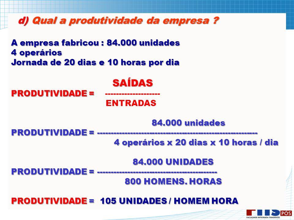 d) Qual a produtividade da empresa ? d) Qual a produtividade da empresa ? A empresa fabricou : 84.000 unidades 4 operários Jornada de 20 dias e 10 hor