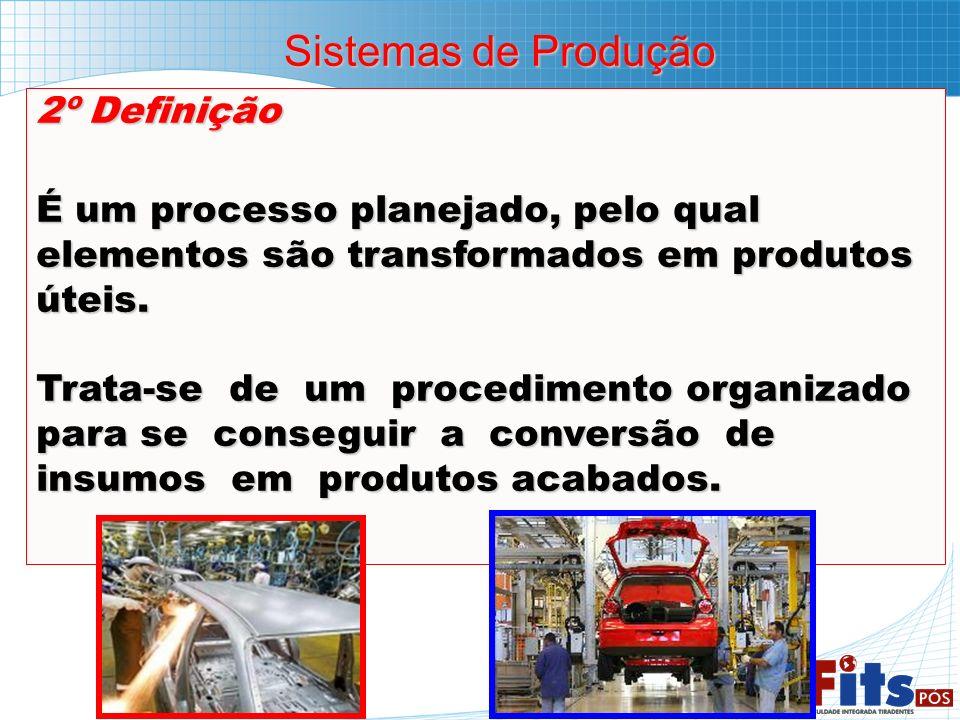2º Definição É um processo planejado, pelo qual elementos são transformados em produtos úteis. Trata-se de um procedimento organizado para se consegui