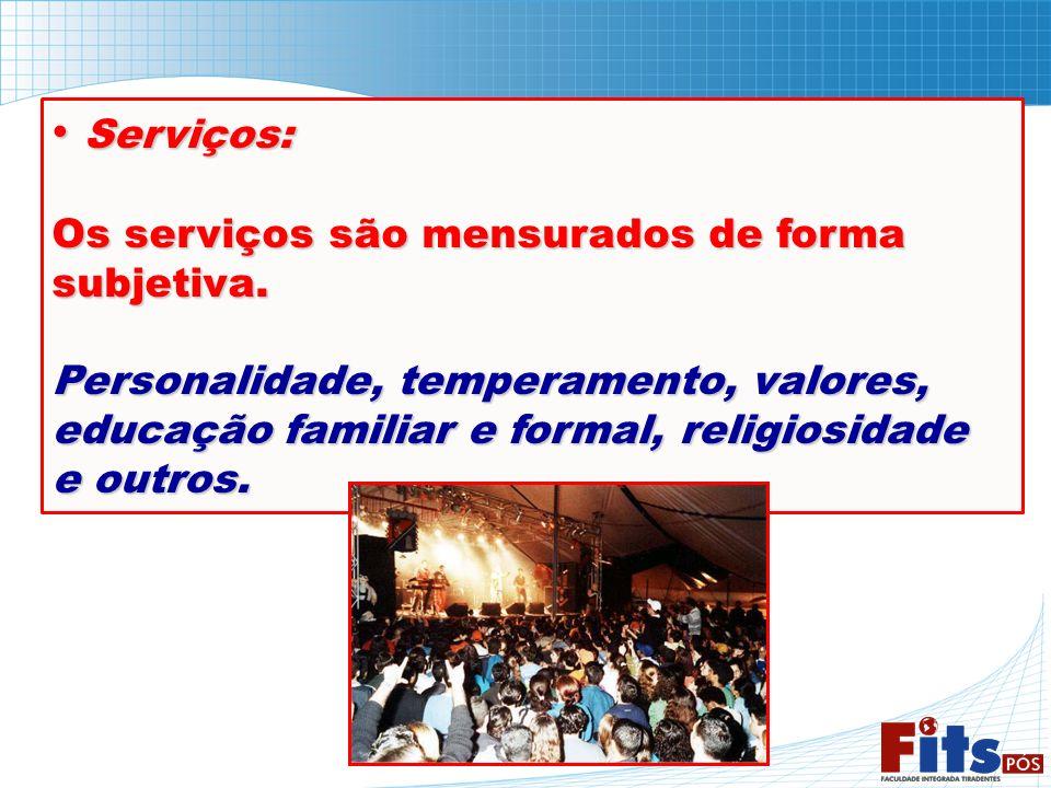 Serviços: Serviços: Os serviços são mensurados de forma subjetiva. Personalidade, temperamento, valores, educação familiar e formal, religiosidade e o