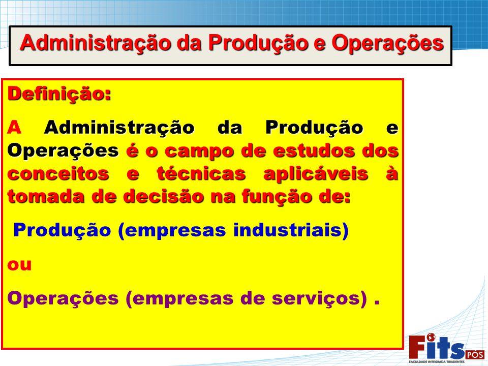 Administração da Produção e Operações Administração da Produção e Operações Definição: Administração da Produção e Operações é o campo de estudos dos