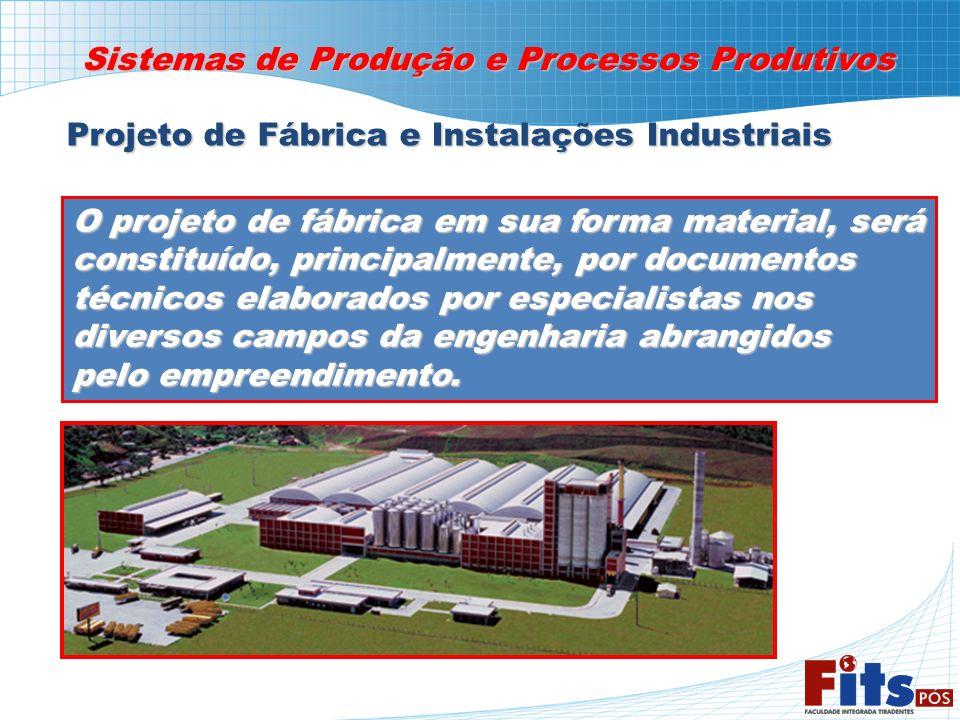 Sistemas de Produção e Processos Produtivos Projeto de Fábrica e Instalações Industriais O projeto de fábrica em sua forma material, será constituído,