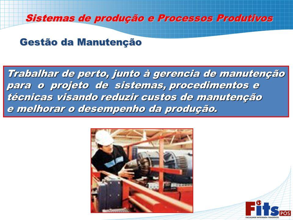 Sistemas de produção e Processos Produtivos Gestão da Manutenção Trabalhar de perto, junto à gerencia de manutenção para o projeto de sistemas, proced