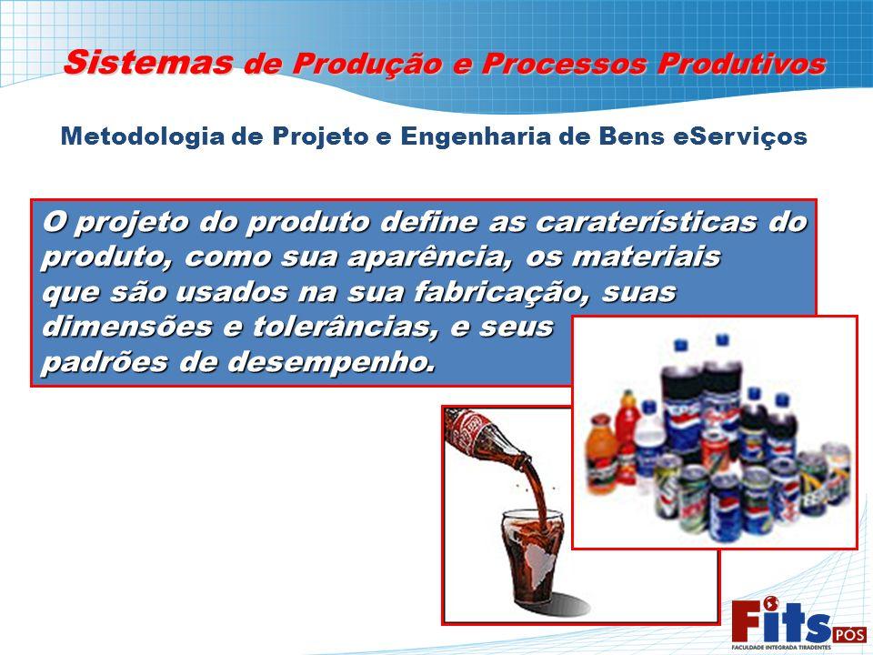 Metodologia de Projeto e Engenharia de Bens eServiços Sistemas de Produção e Processos Produtivos O projeto do produto define as caraterísticas do pro