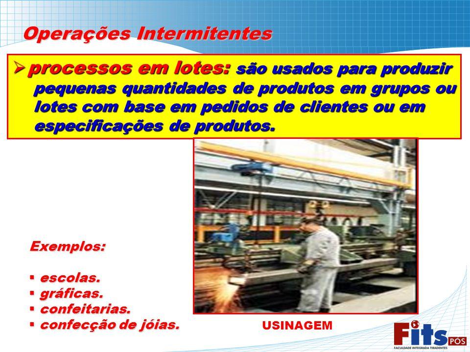 Operações Intermitentes processos em lotes: são usados para produzir processos em lotes: são usados para produzir pequenas quantidades de produtos em