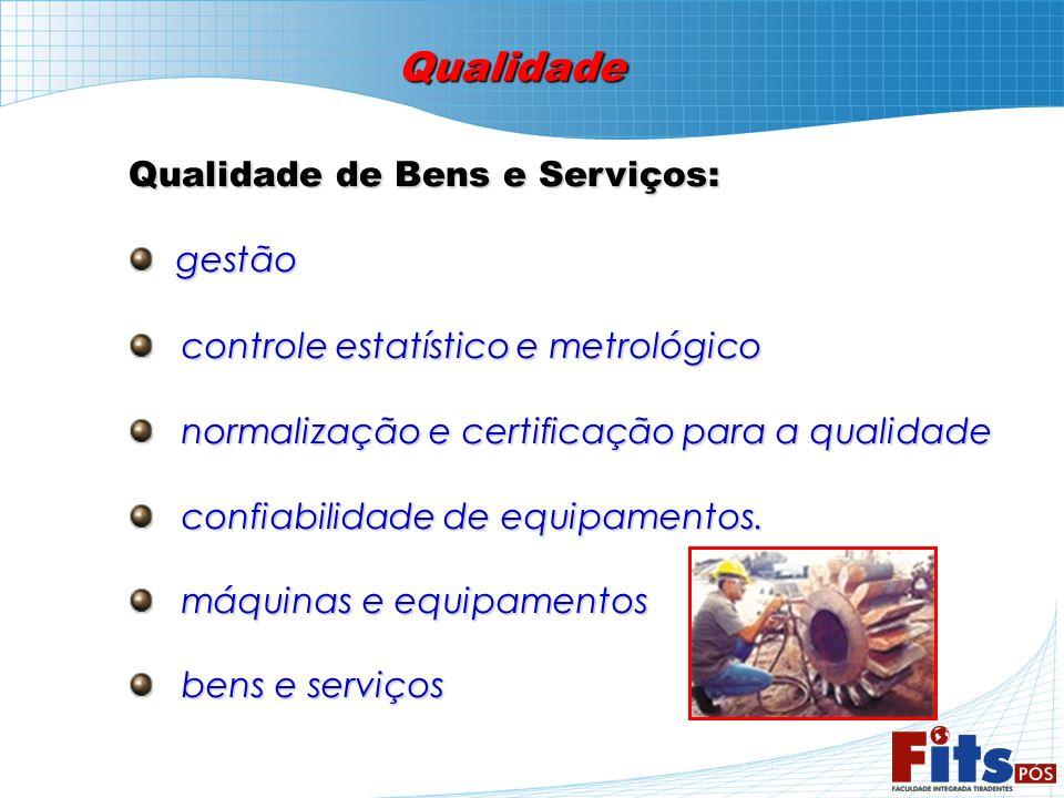 Qualidade Qualidade de Bens e Serviços: gestão gestão controle estatístico e metrológico controle estatístico e metrológico normalização e certificaçã