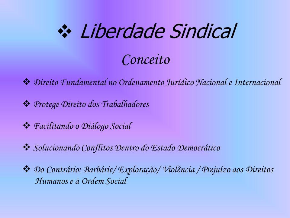 Liberdade Sindical Conceito Direito Fundamental no Ordenamento Jurídico Nacional e Internacional Protege Direito dos Trabalhadores Facilitando o Diálogo Social Solucionando Conflitos Dentro do Estado Democrático Do Contrário: Barbárie/ Exploração/ Violência / Prejuízo aos Direitos Humanos e à Ordem Social