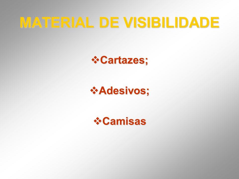MATERIAL DE VISIBILIDADE Cartazes; Cartazes; Adesivos; Adesivos; Camisas Camisas
