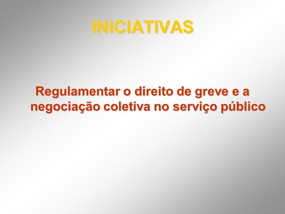 INICIATIVAS Regulamentar o direito de greve e a negociação coletiva no serviço público