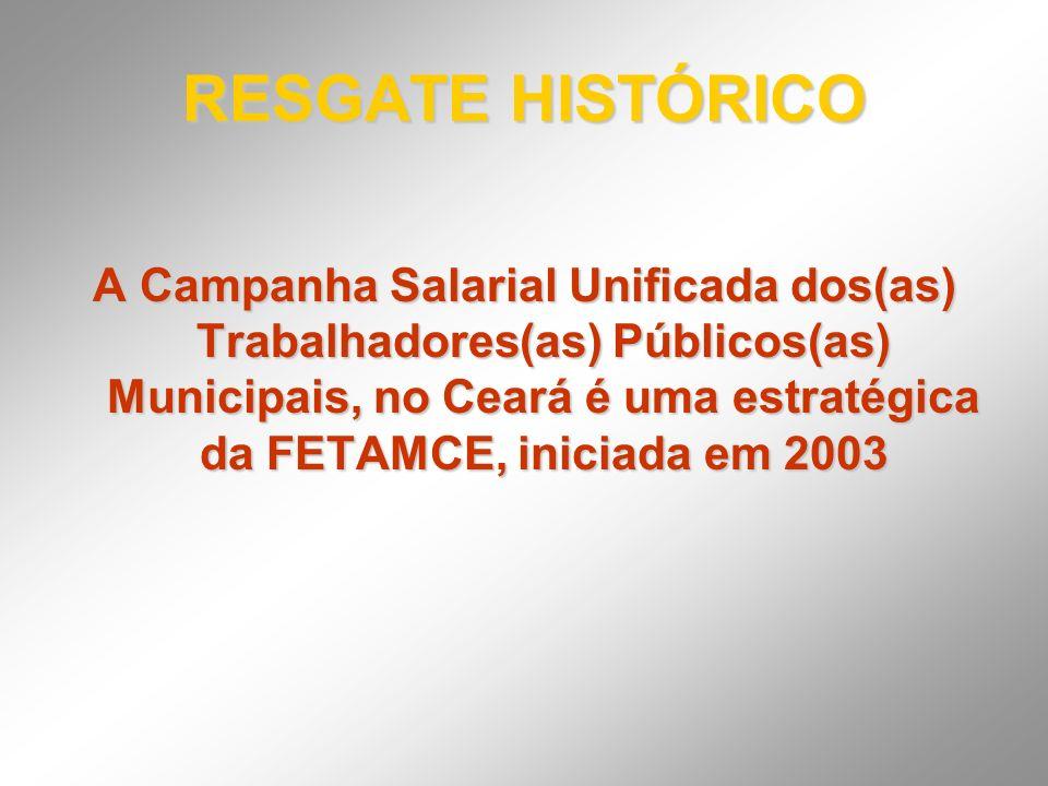 RESGATE HISTÓRICO A Campanha Salarial Unificada dos(as) Trabalhadores(as) Públicos(as) Municipais, no Ceará é uma estratégica da FETAMCE, iniciada em