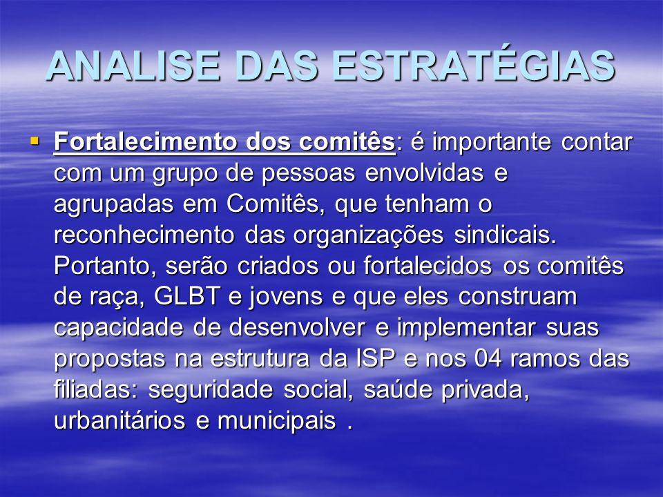 ANALISE DAS ESTRATÉGIAS Fortalecimento dos comitês: é importante contar com um grupo de pessoas envolvidas e agrupadas em Comitês, que tenham o reconhecimento das organizações sindicais.